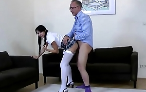 Older guy together with younger babe fianc' together with spunk fountain