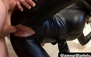 Sexy glam compel ought to eurotrash acquires fucked hither only her tits out