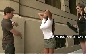 Busty slut surpassing heels public disgrace