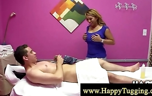 Oriental masseuse sucks and tugs hard