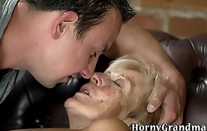 Age-old woman cum sprayed