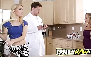 Horny family banging it out with a hawt threeway fuck