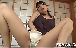 Horny asian toys acquiesce sloppy cleft to the fullest giving juicy blowjob