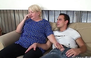 Busty beauteous granny pleases an young guy