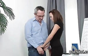 Kissable schoolgirl gets teased and fucked wide of aged mentor