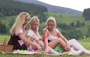 Nice first butch experience between three teen girls having slew of fun together alfresco elbow picnic, licking pussies, using sex toys, grumbling outsider pleasure