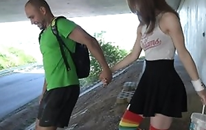 Cute schoolgirl in high-knee socks enjoys screwing in dethrone