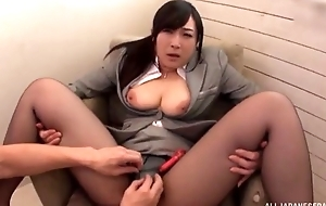 Asian floozy serves hard pecker without taking off her pantyhose