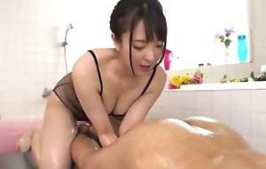 Hot Japanese girl just about big natural tits licks BF's asshole