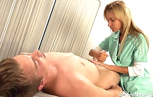 Luscious blonde doctor fucks fortuitous guy close by strapon dildo