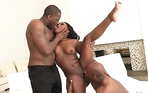 All-natural ebony acquires both of their way holes stuffed with huge dicks