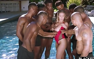 Insatiable nympho with beamy natural confidential enjoys interracial gangbang