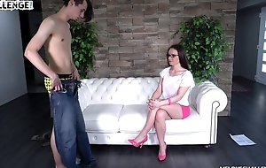 Nerdy pitch-dark close by swaggering heels gets banged at bottom an obstacle couch