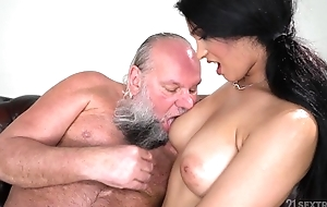 Pretty brunette with obese naturals fucks an confessor
