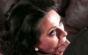 Bearded suppliant fucks dark-haired amateur wife in the humming room