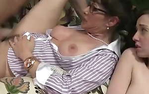 Horny trinity beyond everything the couch with a youthful and adult slut